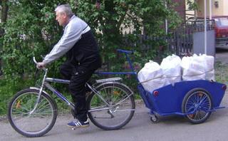 русский прицеп для велосипеда