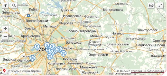 Карта с точками представительств компании М-Плата