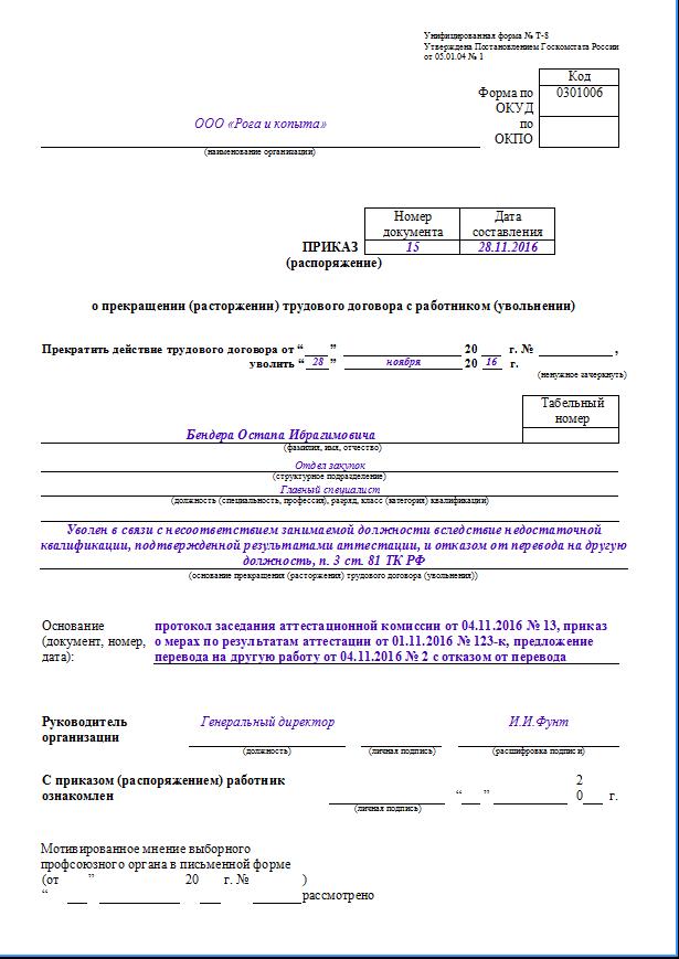 Образец приказа об увольнении за НЗД