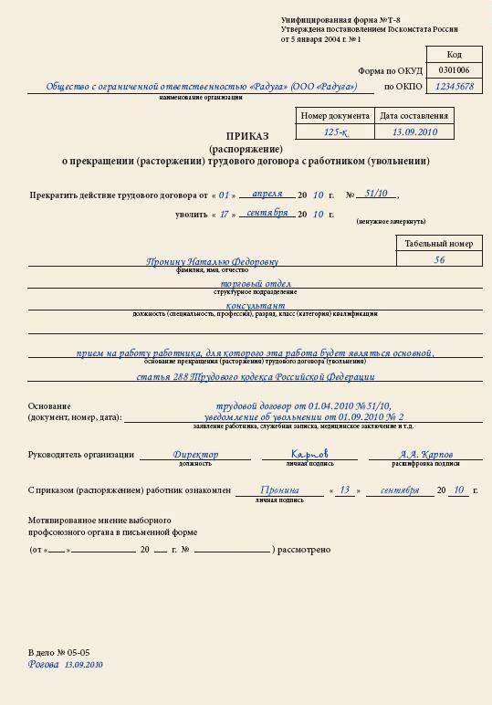 Образец приказа об увольнении совместителя