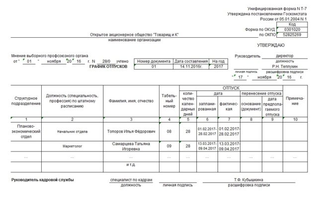 Пример заполнения формы Т-7 (график отпусков)