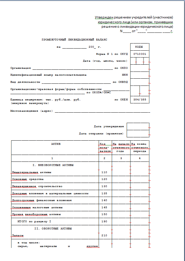 Промежуточный ликвидационный баланс ооо образец бланк