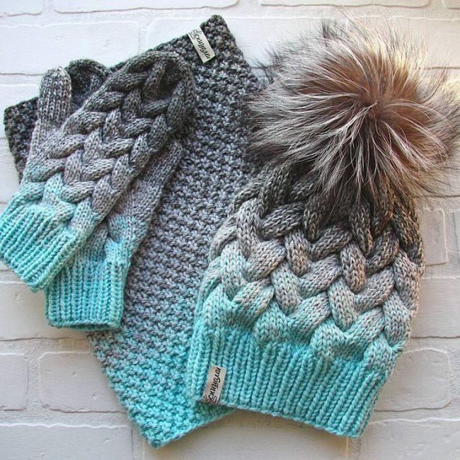 Вязаные шапка, шарф и варежки