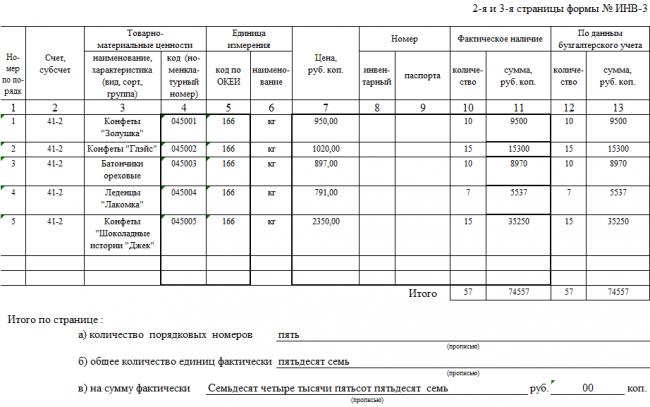 Форма ИНВ-3, стр. 2 и 3