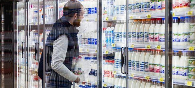Молочная продукция в супермаркете