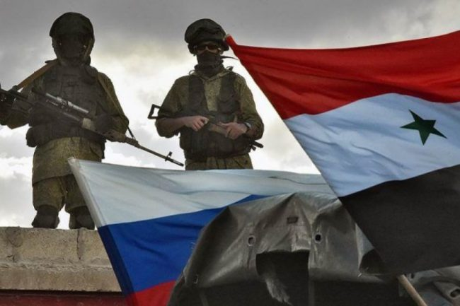 Флаг России и Сирии